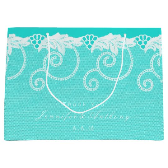 Personalized Aqua Tiffany Blue Ocean Royal Lace Large