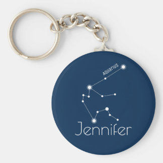 Personalized Aquarius Zodiac Constellation Key Ring