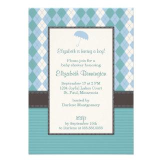 Personalized Argyle Boy Baby Shower Invitations