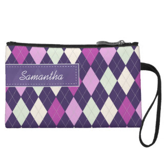 Personalized ARGYLE PATTERN Bagettes Bag (plum)