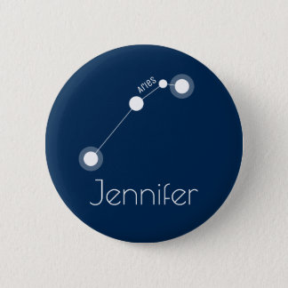 Personalized Aries Zodiac Constellation 6 Cm Round Badge
