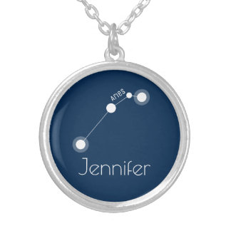 Personalized Aries Zodiac Constellation Silver Plated Necklace