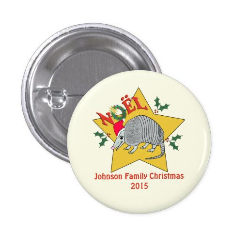 Personalized  Armadillo Santa Star Christmas Buttons
