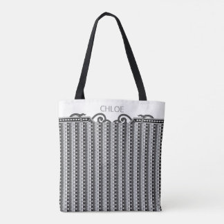 Personalized Art Deco Victorian Stripe Black White Tote Bag