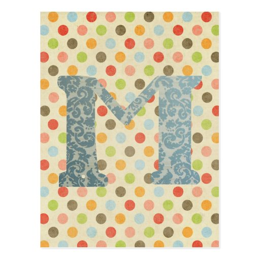 Personalized Art Letter M Post Card