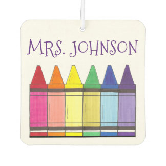 Personalized Artist Art Teacher Rainbow Crayon Car Air Freshener