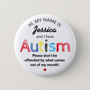 Personalized Autism Awarness | Funny ASD 6 Cm Round Badge