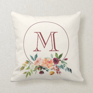 Personalized Autumn Burgundy Monogram Throw Pillow