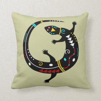 Personalized Aztec Southwest Tribal Lizard Design Cushion