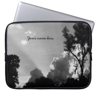 Personalized B&W Sun Rays at Sunset Laptop Sleeve