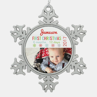 Personalized Baby 1st Christmas Snowflake Ornament