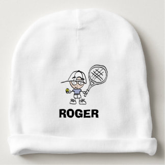 Personalized baby beanie hat with tennis cartoon