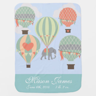 Personalized Baby Blanket Hot Air Balloon Elephant