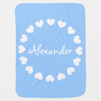 Personalized baby blanket in blue and white hearts