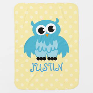 Personalized baby blanket in cute blue owl bird