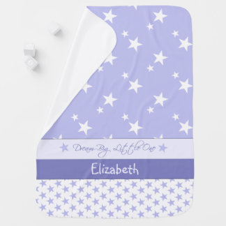 Personalized Baby Blanket Purple with white stars