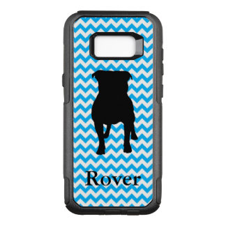 Personalized Baby Blue Chevron With Pug Silhouette OtterBox Commuter Samsung Galaxy S8+ Case