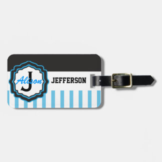 Personalized Baby Blue Striped Bag Tag