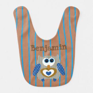 Personalized Baby Boy Bib Owl blue Brown