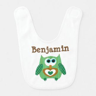 Personalized Baby Boy Bib Owl Green Brown