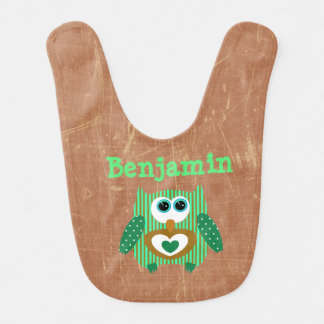 Personalized Baby Boy Bib Owl Green Brown