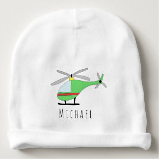 Personalized Baby Boy Colorful Helicopter and Name Baby Beanie