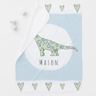Personalized Baby Boy Doodle Dinosaur with Name Baby Blanket