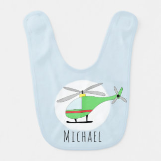 Personalized Baby Boy Helicopter Aircraft and Name Bib