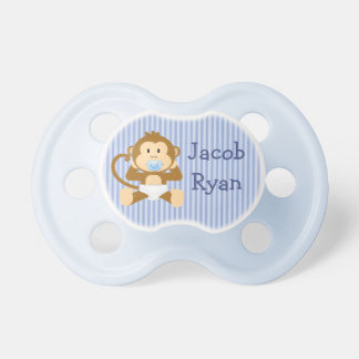 Personalized Baby Boy Monkey in Diaper Pacifier