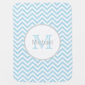 Personalized BABY BOY Monogram Chevron Blue White Baby Blanket