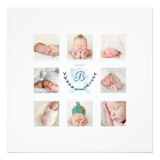 PERSONALIZED BABY BOY PHOTO COLLAGE WITH WREATH