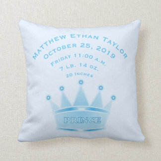 Personalized Baby Boy Prince Birth Record Stats Throw Pillow