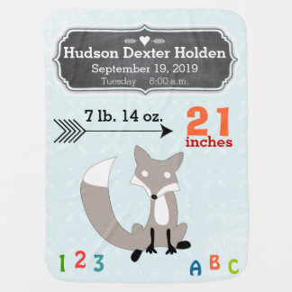 Personalized Baby Boy Stats Arrow Pattern Blanket