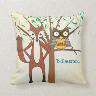 Personalized Baby Boy's Room Cute Fox and Owl Cushion