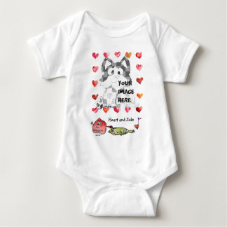 Personalized Baby Cartoon Hearts Baby Bodysuit