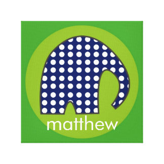 Personalized Baby Elephant [navy+green] Stretched Canvas Print