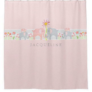Personalized Baby Elephants Girl Bathroom Shower Shower Curtain
