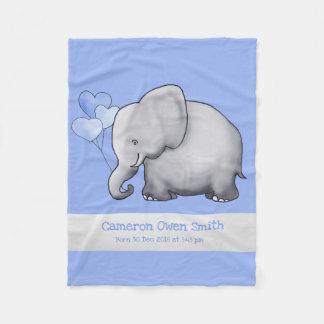Personalized Baby Elephants with Balloons Nursery Fleece Blanket
