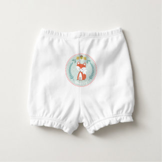 Personalized Baby Fox Wreath Diaper Cover Nappy Cover