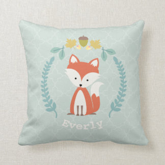 Personalized Baby Fox Wreath Pillow - Girl