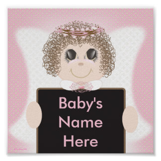 Personalized Baby Girl Angel Wall Poster