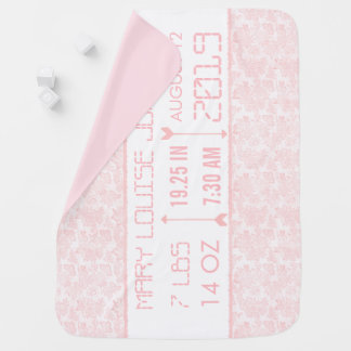Personalized Baby Girl Announcement/Birth Record Baby Blanket