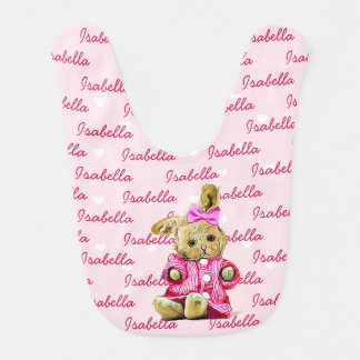 Personalized Baby Girl Bib Pink with Bunny and Bow