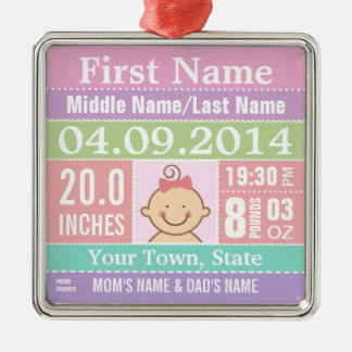 Personalized Baby Girl Birth Stats Ornament