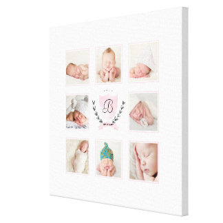 PERSONALIZED BABY GIRL PHOTO COLLAGE WITH WREATH STRETCHED CANVAS PRINT
