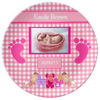 Personalized Baby Girl Pink Newborn Gift Plate Porcelain Plates