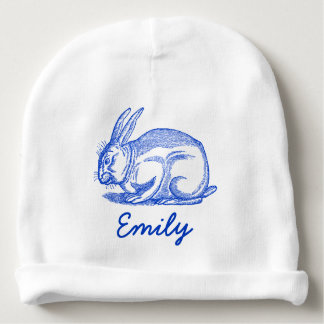 Personalized Baby Hat with Bunny Rabbit (white) Baby Beanie