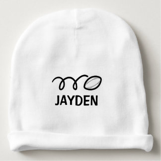 Personalized baby hat with cute rugby ball design baby beanie