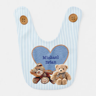 Personalized Baby Name in Heart Teddy Bears Bib