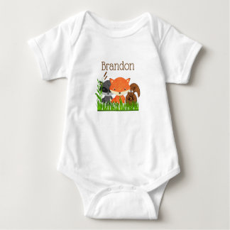 Personalized Baby One Piece Forest Animals Baby Bodysuit